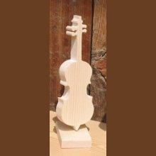 violoncelle en bois monté sur socle cadeau original pour un musicien, décoration de table thème musical