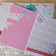 Carnet, album, recueil de poèmes fleurs d'été 'Happy Mother's day' multicolore bleu rose en papier carton