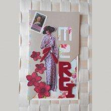 Charmante lady 'rétro' 1930 dira merci avec ses fleurs rouges et sequins