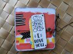 Mini album Amoureux 'I Love You' imprimés flashy bleu orange jaune rose noir