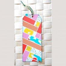 Signet, marque-page, onglet, en récup de carton et couleurs rose orange turquoise flashy
