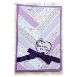 Carte de bonheur à partager au graphisme 'chevrons' aux couleurs mauve et violet