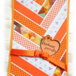 Carte instant 'bonheur à partager' type chevrons aux couleurs 'Orangeade' pour égayer la vie de couleurs