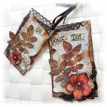 Duo de minis cartes altérées scrapées vintage gris et fleur rose toutes occasions
