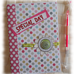 Journal intime ou Calepin album ou carnet papiers assortis 'Special Day' rose vert multicolore