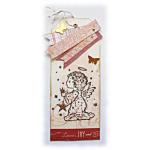 Meilleurs voeux avec ce marque-pages 'Ange aux étoiles' de fêtes de fin d'année, un signet ou une carte originale et brillante