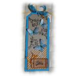 Etiquette carte tag scrap bordurée shabby bleu orange beige 'Plaisir d'offrir' pour cadeau, fête, amitié, amour, anniversaire, remerciement,