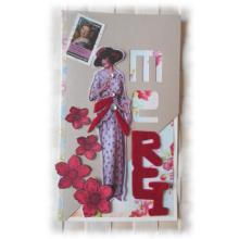 Remerciements carterie Charmante lady 'rétro' 1930  avec ses fleurs rouges et sequins, sentiment en feutrine