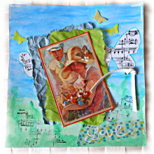 Du scrap pour un romantique 'Love' sur aquarelle et papiers assortis frippés bleu et vert