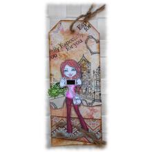 Style boho pour un marque-pages original tout en relief orangé rosé noir en carton forme tag