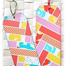 Collection de 2 signets ou marque-pages assortis en récup de carton et couleurs rose jaune bleu vert flashy