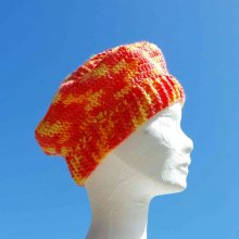 Beret enfant fil satiné jaune orange