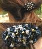 Chouchou en perles noires/dorées en kit