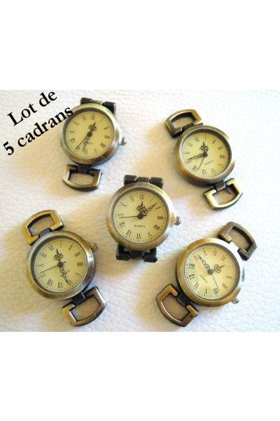 5 antique bronze watch faces