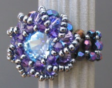 Blue iridescent Syros bead ring instructions