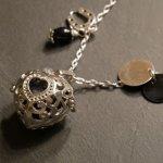 Collier pendentif diffuseur Coeur pierre de lave Noir