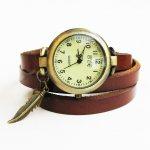 Montre bracelet cuir marron Plume et pierre