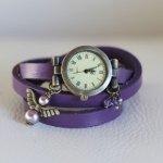 Montre bracelet cuir Violet ange parme