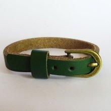 Bracelet cuir simple tour Vert pour montre