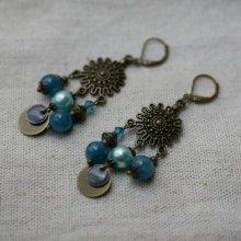 Boucles d'oreilles Bohème Chandeliers et perles bleues