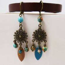 Boucles d'oreilles Bohème Turquoise Marron