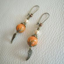 Boucles d'oreilles Hippy chic Orange ailes d'ange
