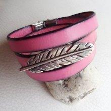 Bracelet cuir rose 3 tours Plume ajustable