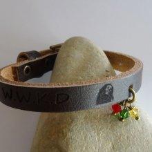 Bracelet Reggae cuir gravé à personnaliser