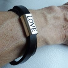 Bracelet en cuir double tours 'LOVE'