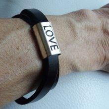 Bracelet en cuir double tours 'LOVE'