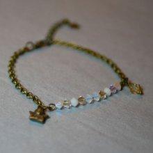 Bracelet fin chaîne bronze Blanc et doré