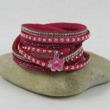 Bracelet manchette fuchsia strass breloque Fleur