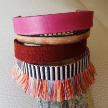 Bracelet manchette multi cuir et franges