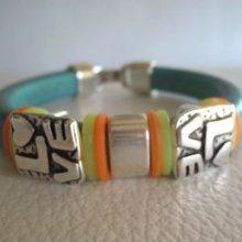 Bracelet cuir Regaliz Turquoise Love