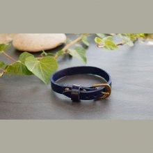 Bracelet cuir simple tour Bleu pour montre