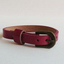 Bracelet cuir simple tour Fuchsia pour montre