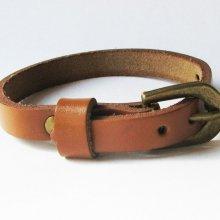 Bracelet cuir simple tour Marron clair pour montre