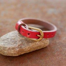 Bracelet cuir simple tour Rouge pour montre