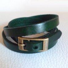 Bracelet cuir triple tour Vert pour montre