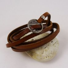 Bracelet cuir 5 tours Marron ajustable