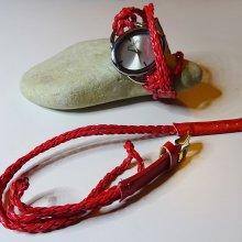 Bracelet montre tressé rouge