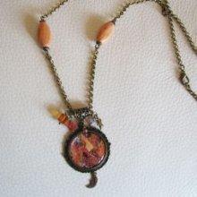 Collier cabochon Klimt et perles cuivrées