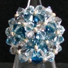 Bague en perle Agate bleue ( en kit )