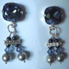 Kit boucles d'oreilles Cabochons Double Bleu