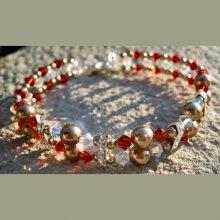Bracelet Double Swarovski Rouge en kit
