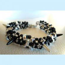 Bracelet Spikes Noir argent en kit