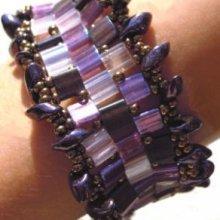 Bracelet Tila Frou-frou Magatama Cassis en kit
