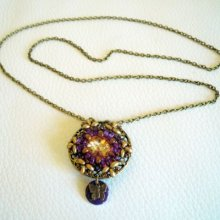 Collier médaillon Anne Violet en kit