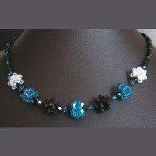 Kit collier en boules de perles noir/bleu canard