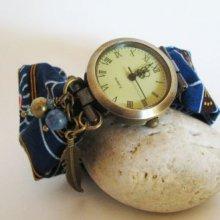 Kit montre bracelet tissus Wax africain bleu